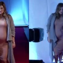 Kisio w cielistej sukience. Pokazuje ciążowy brzuszek!