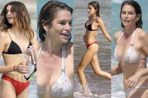 Biust 51-letniej Cindy Crawford i nogi jej 15-letniej córki kąpią się w oceanie (ZDJĘCIA)
