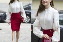 #TRENDY: Królowa Letizia w czerwonej spódnicy