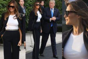 Elegancka Melania i ucieszony Donald wylatują do Paryża (ZDJĘCIA)