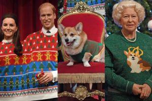Figury woskowe brytyjskiej rodziny królewskiej... w kiczowatych, świątecznych sweterkach! (FOTO)