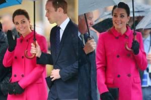 Księżna Kate w różowym płaszczyku