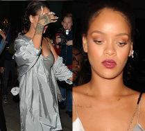 Rihanna imprezuje w srebrnej halce