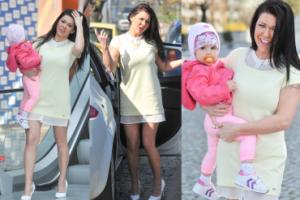 Iwonka Węgrowska w krótkiej sukience i z córeczką wychodzi ze śniadaniówki (ZDJĘCIA)