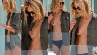 Anja Rubik wietrzy NAGIE piersi na balkonie w Cannes! (ZDJĘCIA)