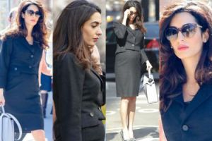 Ciężarna Amal Clooney pokazuje brzuszek w Nowym Jorku (ZDJĘCIA)