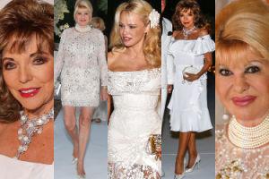 """84-letnia Joan Collins i 68-letnia Ivana Trump bawią się na """"białym przyjęciu"""" u Pameli (ZDJĘCIA)"""