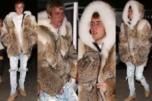 Justin Bieber w wielkim futrze i porwanych spodniach (ZDJĘCIA)