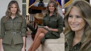 """Nogi Melanii Trump w """"wojskowym"""" kostiumie za 16 tysięcy w Białym Domu (ZDJĘCIA)"""