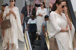 Angelina Jolie z dziećmi w centrum handlowym. Przytyła? (ZDJĘCIA)