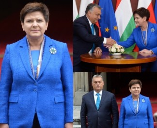 Beata Szydło z nową broszką wita premiera Węgier