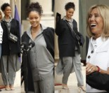 Rihanna w za dużej marynarce spotkała się z Brigitte Macron (ZDJĘCIA)