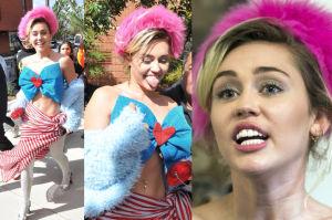 Miley Cyrus w różowym futrze na głowie... wspiera Hillary Clinton! (ZDJĘCIA)