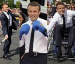 Wyluzowany Emmanuel Macron boksuje, gra w tenisa i... JEŹDZI na wózku inwalidzkim (ZDJĘCIA)