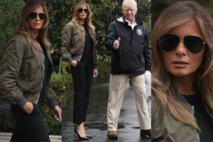 Melania Trump w szpilkach i strugach deszczu wylatuje z Donaldem do Teksasu (ZDJĘCIA)