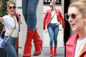 """""""Młodzieżowa"""" Celine Dion w czerwonych kozaczkach na zakupach w butiku Chanel (ZDJĘCIA)"""