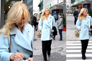 Grażyna Torbicka rozdaje autografy pod TVN-em