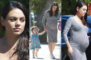 Mila Kunis z brzuszkiem odprowadza córkę do przedszkola (ZDJĘCIA)