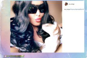 Ewa Minge pozuje z kotem