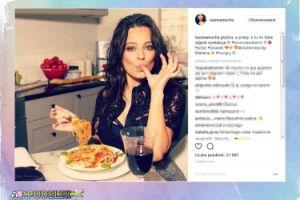 Seksowna Ania Mucha kusi talerzem spaghetti