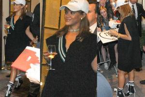 Rihanna wychodzi z hotelu z kieliszkiem wina (ZDJĘCIA)