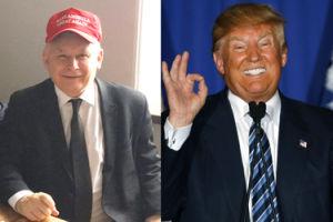 Uradowany Kaczyński w czapeczce Donalda Trumpa (FOTO)