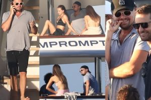 Leonardo DiCaprio pije wino z modelkami w Saint Tropez (ZDJĘCIA)