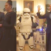 Michelle i Barack Obama tańczą z R2-D2!
