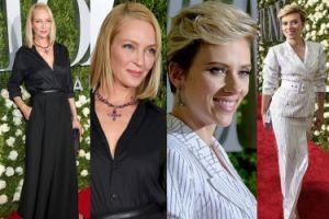 Uma Thurman w czerni i Scarlett Johansson w bieli pozują na Tony Awards (ZDJĘCIA)