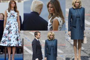 Brigitte i Melania w sukience za 33 tysiące oglądają defiladę na Polach Elizejskich (ZDJĘCIA)