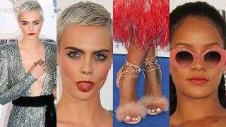 Delevingne z dekoltem do pępka i dorodna Rihanna w piórach na paryskiej premierze (ZDJĘCIA)
