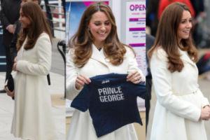 Kate Middleton w białym płaszczyku (ZDJĘCIA)