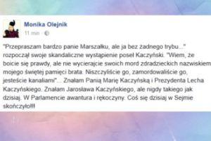 """Monika Olejnik: """"Coś się dzisiaj w Sejmie skończyło!"""" (FOTO)"""