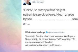 """Tomasz Lis kpi z dziennikarzy TVP: """"Gnidy to rzeczywiście nie jest najtrafniejsze określenie"""""""