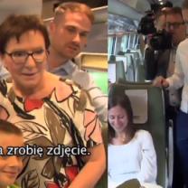 """Ewa Kopacz jedzie Pendolino i zaczepia pasażerów: """"Nie przeszkadzamy?"""""""