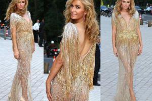 Pośladki Paris Hilton w złotej sukni (ZDJĘCIA)