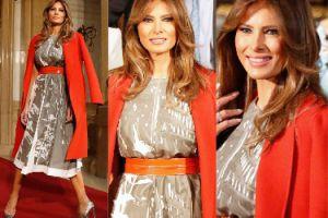 Elegancka Melania Trump w czerwonym płaszczu na spotkaniu pierwszych dam (ZDJĘCIA)