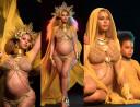 Ciężarna Beyonce w złotym bikini i z aureolą (ZDJĘCIA)