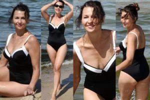 """""""Seksowne"""" pozy 49-letniej Anny Popek na plaży w Międzyzdrojach (ZDJĘCIA)"""