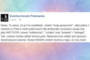 """Korwin Piotrowska o Nosowskiej: """"Jestem dumna z tego, że Cię znam"""""""