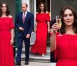 Księżna Kate w ognistej czerwieni wznosi toast za królową (ZDJĘCIA)