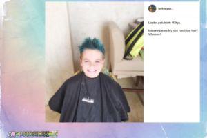 Syn Britney Spears z niebieskimi włosami