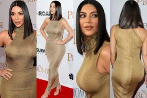 Biust i pupa Kim Kardashian w obcisłej sukience na czerwonym dywanie (ZDJĘCIA)