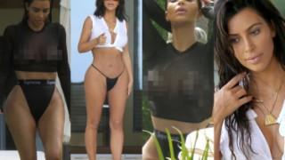 Piersi Kim Kardashian na wakacjach w Meksyku (ZDJĘCIA)