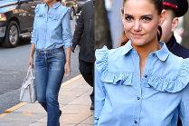 #TRENDY: Katie Holmes w dżinsowej koszuli z falbankami