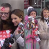 Dereszowska, Herbuś i Zielińska z puszkami WOŚP pod TVN-em