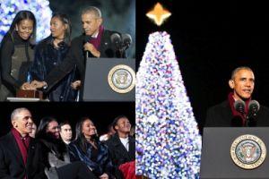 Obama z rodziną ostatni raz zapalili światełka na choince przed Białym Domem (ZDJĘCIA)
