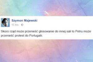 """Szymon Majewski o Petru: """"Może przenieść protest do Portugalii"""""""