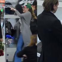 Majdan z różami wita Rozenek na lotnisku