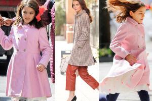 """Katie Holmes z córką w różowym płaszczu Diora! """"Suri ma własną stylistkę"""" (ZDJĘCIA)"""